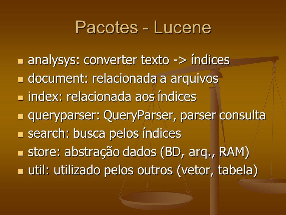 Pacotes - Lucene analysys: converter texto -> índices analysys: converter texto -> índices document: relacionada a arquivos document: relacionada a arquivos index: relacionada aos índices index: relacionada aos índices queryparser: QueryParser, parser consulta queryparser: QueryParser, parser consulta search: busca pelos índices search: busca pelos índices store: abstração dados (BD, arq., RAM) store: abstração dados (BD, arq., RAM) util: utilizado pelos outros (vetor, tabela) util: utilizado pelos outros (vetor, tabela)