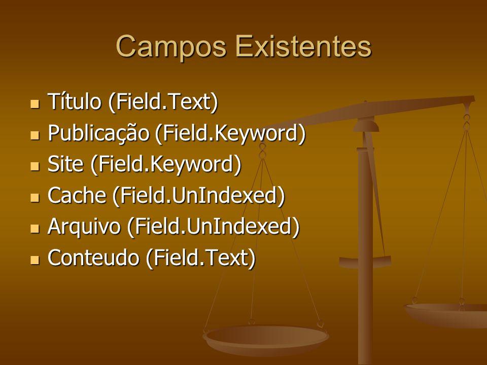 Campos Existentes Título (Field.Text) Título (Field.Text) Publicação (Field.Keyword) Publicação (Field.Keyword) Site (Field.Keyword) Site (Field.Keyword) Cache (Field.UnIndexed) Cache (Field.UnIndexed) Arquivo (Field.UnIndexed) Arquivo (Field.UnIndexed) Conteudo (Field.Text) Conteudo (Field.Text)