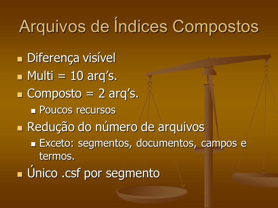 Arquivos de Índices Compostos Diferença visível Diferença visível Multi = 10 arq's.