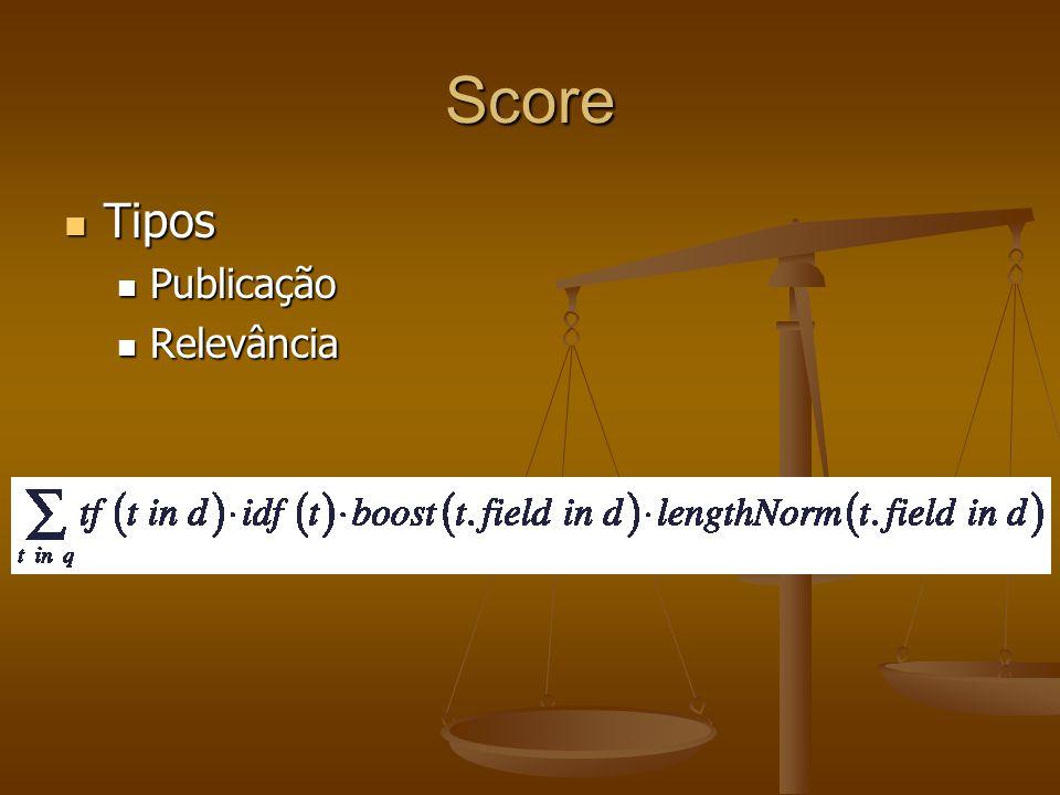 Score Tipos Tipos Publicação Publicação Relevância Relevância
