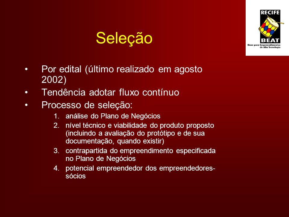 Seleção Por edital (último realizado em agosto 2002) Tendência adotar fluxo contínuo Processo de seleção: 1.análise do Plano de Negócios 2.nível técnico e viabilidade do produto proposto (incluindo a avaliação do protótipo e de sua documentação, quando existir) 3.contrapartida do empreendimento especificada no Plano de Negócios 4.potencial empreendedor dos empreendedores- sócios