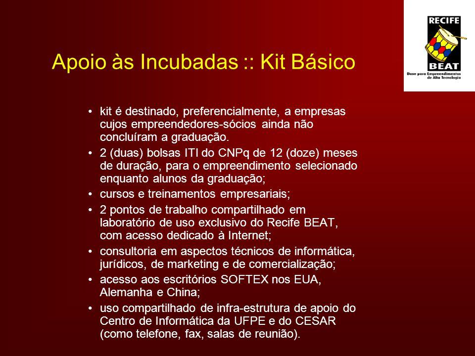 Apoio às Incubadas :: Kit Básico kit é destinado, preferencialmente, a empresas cujos empreendedores-sócios ainda não concluíram a graduação.
