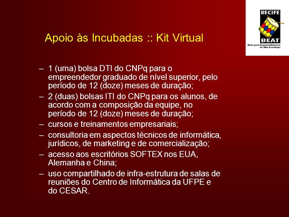 Apoio às Incubadas :: Kit Virtual –1 (uma) bolsa DTI do CNPq para o empreendedor graduado de nível superior, pelo período de 12 (doze) meses de duração; –2 (duas) bolsas ITI do CNPq para os alunos, de acordo com a composição da equipe, no período de 12 (doze) meses de duração; –cursos e treinamentos empresariais; –consultoria em aspectos técnicos de informática, jurídicos, de marketing e de comercialização; –acesso aos escritórios SOFTEX nos EUA, Alemanha e China; –uso compartilhado de infra-estrutura de salas de reuniões do Centro de Informática da UFPE e do CESAR.