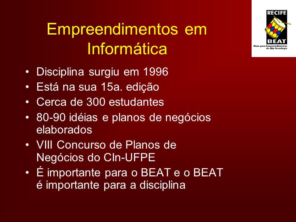 Empreendimentos em Informática Disciplina surgiu em 1996 Está na sua 15a.