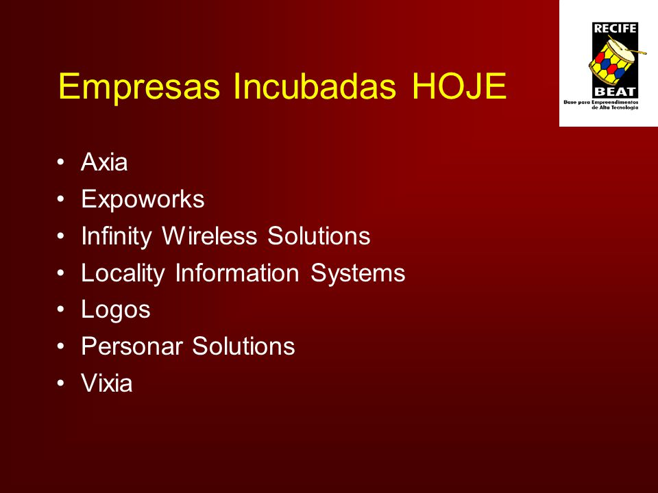 Empresas Incubadas HOJE Axia Expoworks Infinity Wireless Solutions Locality Information Systems Logos Personar Solutions Vixia