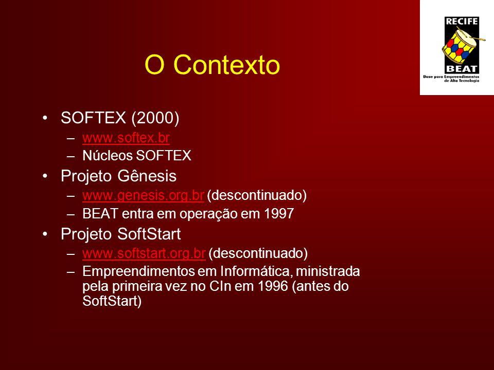 O Contexto SOFTEX (2000) –www.softex.brwww.softex.br –Núcleos SOFTEX Projeto Gênesis –www.genesis.org.br (descontinuado)www.genesis.org.br –BEAT entra em operação em 1997 Projeto SoftStart –www.softstart.org.br (descontinuado)www.softstart.org.br –Empreendimentos em Informática, ministrada pela primeira vez no CIn em 1996 (antes do SoftStart)