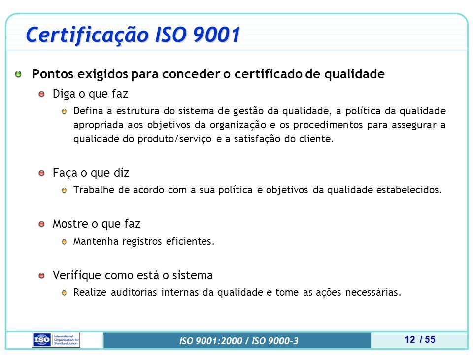 12 / 55 ISO 9001:2000 / ISO 9000-3 Certificação ISO 9001 Pontos exigidos para conceder o certificado de qualidade Diga o que faz Defina a estrutura do sistema de gestão da qualidade, a política da qualidade apropriada aos objetivos da organização e os procedimentos para assegurar a qualidade do produto/serviço e a satisfação do cliente.