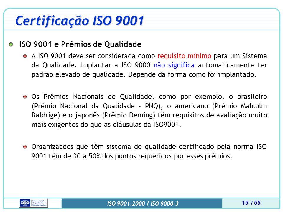 15 / 55 ISO 9001:2000 / ISO 9000-3 Certificação ISO 9001 ISO 9001 e Prêmios de Qualidade A ISO 9001 deve ser considerada como requisito mínimo para um Sistema da Qualidade.