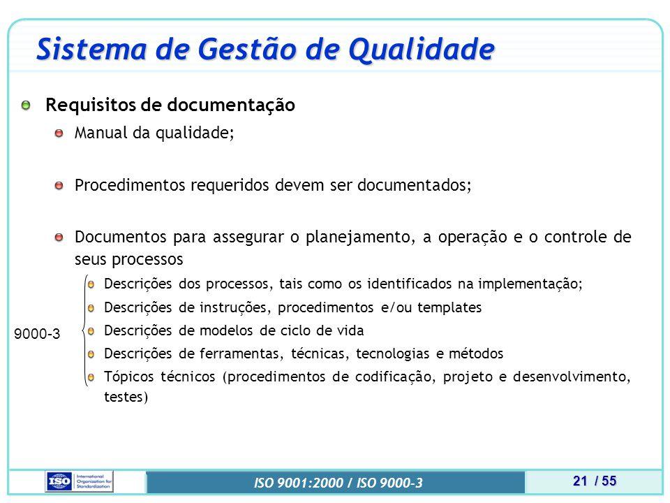 21 / 55 ISO 9001:2000 / ISO 9000-3 9000-3 Sistema de Gestão de Qualidade Requisitos de documentação Manual da qualidade; Procedimentos requeridos devem ser documentados; Documentos para assegurar o planejamento, a operação e o controle de seus processos Descrições dos processos, tais como os identificados na implementação; Descrições de instruções, procedimentos e/ou templates Descrições de modelos de ciclo de vida Descrições de ferramentas, técnicas, tecnologias e métodos Tópicos técnicos (procedimentos de codificação, projeto e desenvolvimento, testes)