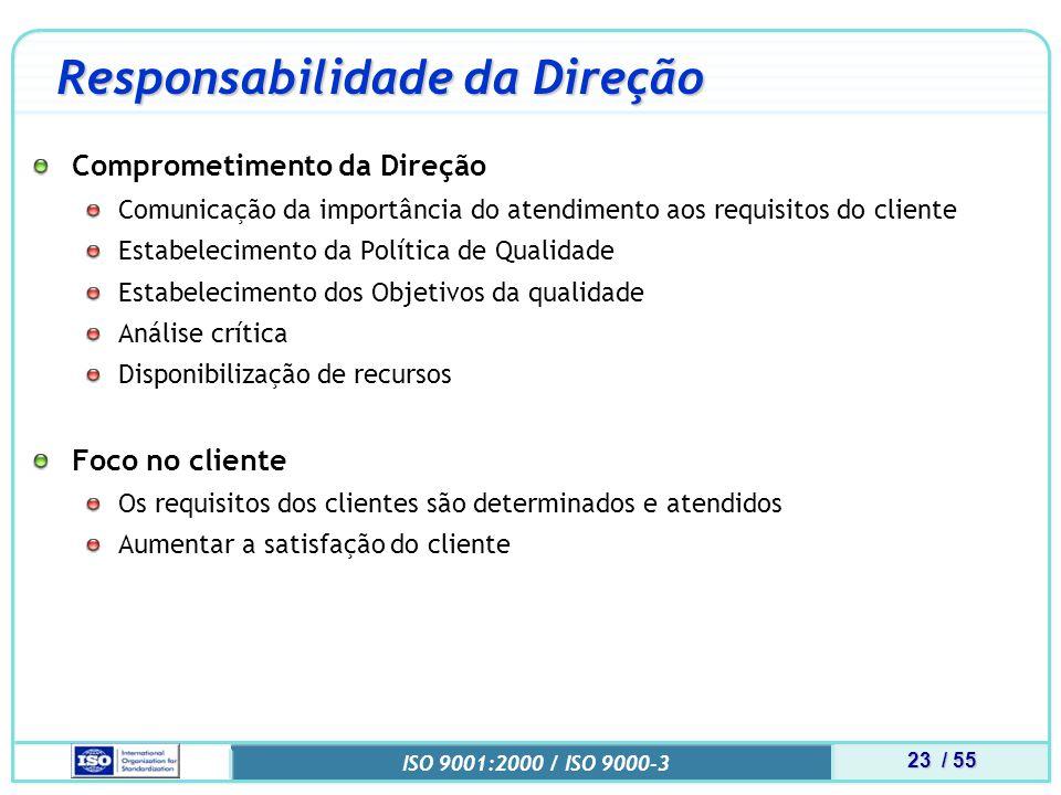 23 / 55 ISO 9001:2000 / ISO 9000-3 Responsabilidade da Direção Comprometimento da Direção Comunicação da importância do atendimento aos requisitos do cliente Estabelecimento da Política de Qualidade Estabelecimento dos Objetivos da qualidade Análise crítica Disponibilização de recursos Foco no cliente Os requisitos dos clientes são determinados e atendidos Aumentar a satisfação do cliente