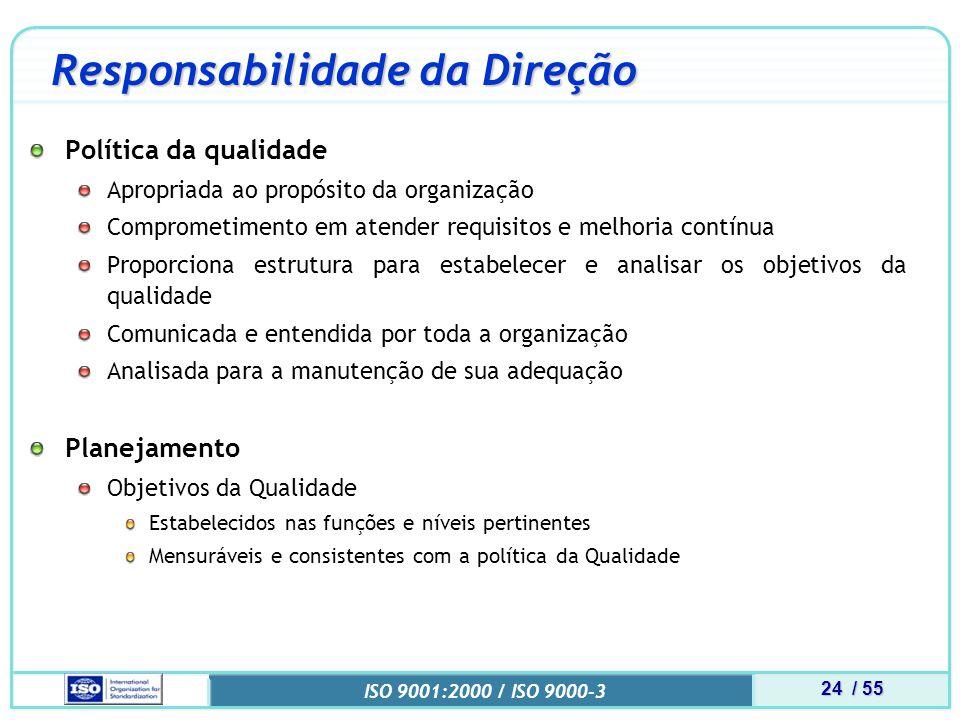 24 / 55 ISO 9001:2000 / ISO 9000-3 Responsabilidade da Direção Política da qualidade Apropriada ao propósito da organização Comprometimento em atender requisitos e melhoria contínua Proporciona estrutura para estabelecer e analisar os objetivos da qualidade Comunicada e entendida por toda a organização Analisada para a manutenção de sua adequação Planejamento Objetivos da Qualidade Estabelecidos nas funções e níveis pertinentes Mensuráveis e consistentes com a política da Qualidade