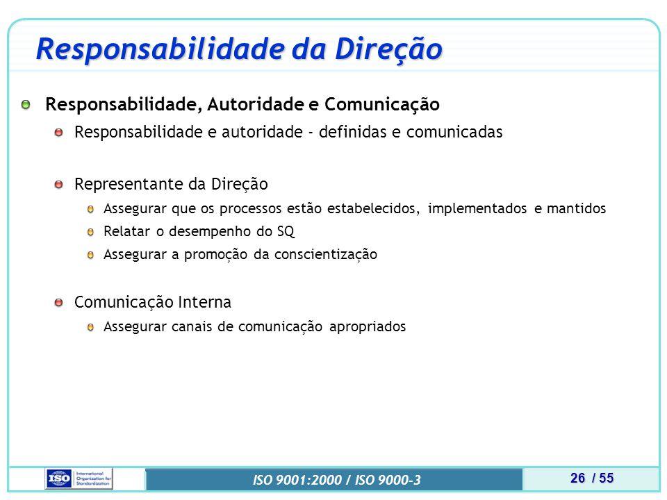 26 / 55 ISO 9001:2000 / ISO 9000-3 Responsabilidade da Direção Responsabilidade, Autoridade e Comunicação Responsabilidade e autoridade - definidas e comunicadas Representante da Direção Assegurar que os processos estão estabelecidos, implementados e mantidos Relatar o desempenho do SQ Assegurar a promoção da conscientização Comunicação Interna Assegurar canais de comunicação apropriados