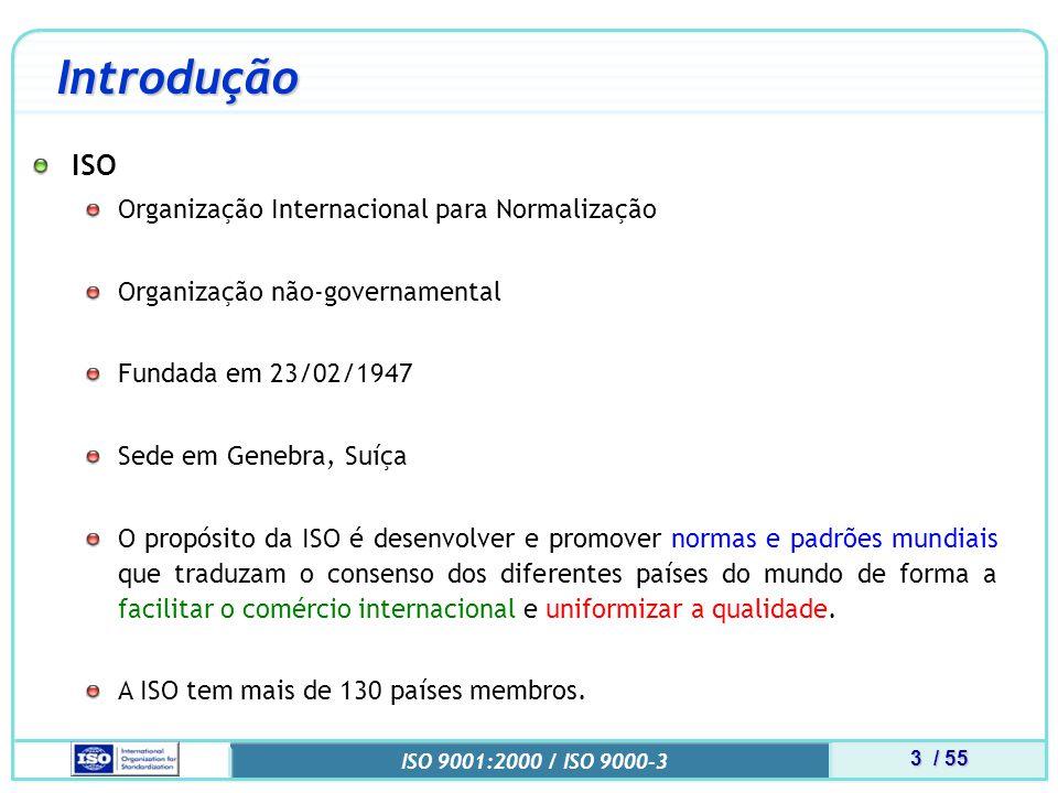 4 / 55 ISO 9001:2000 / ISO 9000-3 Introdução Histórico 1947: formação da ISO e início de suas atividades.