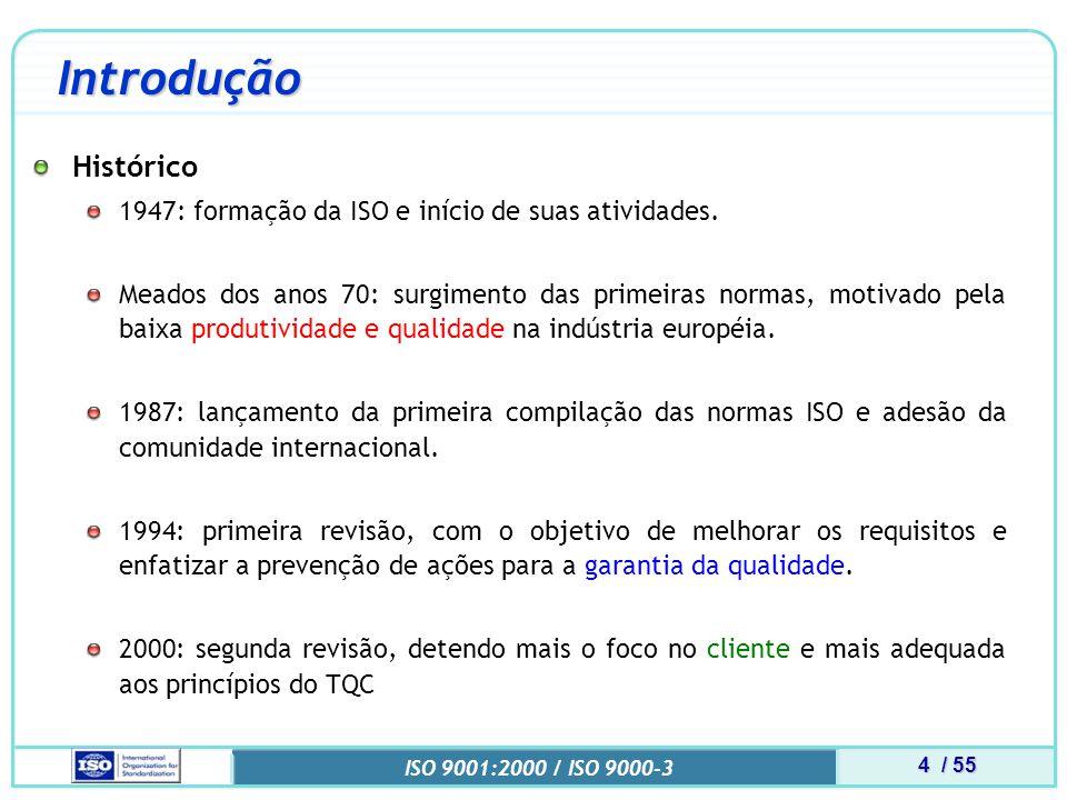 25 / 55 ISO 9001:2000 / ISO 9000-3 9000-3 Responsabilidade da Direção Planejamento Planejamento do SGQ Assegurar PLANEJAMENTO e INTEGRIDADE do SGQ Planejamento da qualidade no Nível Organizacional Definição de modelos de ciclo de vida Definição dos artefatos de desenvolvimento Definição do conteúdo dos planos de gerência de software Identificação das ferramentas e do ambiente Identificação de reuso de software