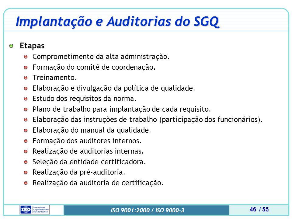46 / 55 ISO 9001:2000 / ISO 9000-3 Implantação e Auditorias do SGQ Etapas Comprometimento da alta administração.