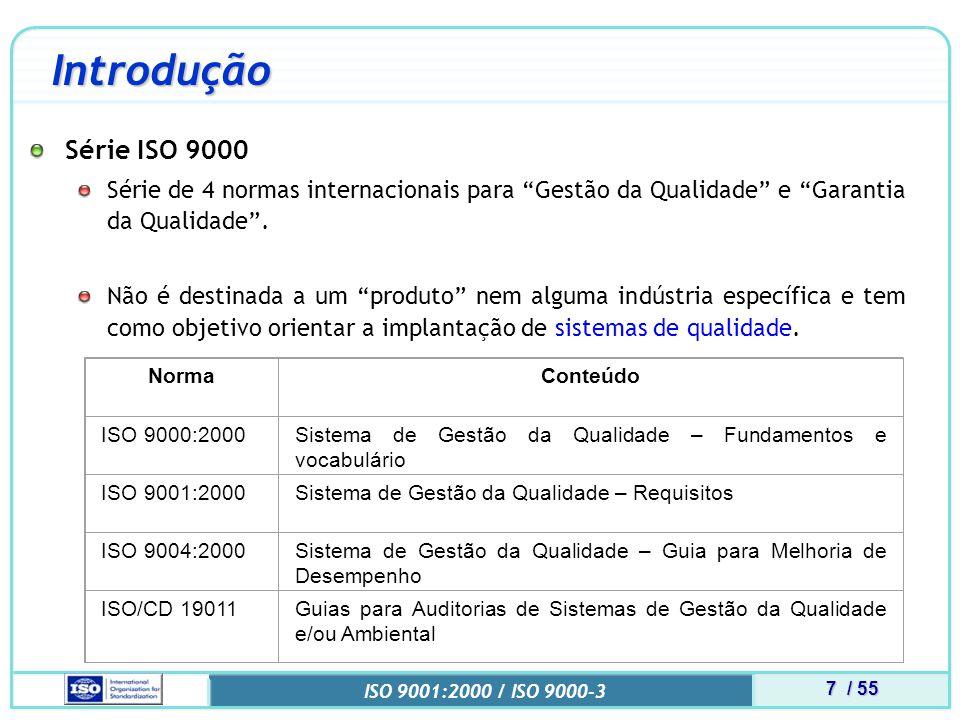 8 / 55 ISO 9001:2000 / ISO 9000-3 Introdução Norma ISO 9001 ISO 9001:2000 É um padrão internacional que especifica requisitos para um sistema gerencial de qualidade de uma organização .