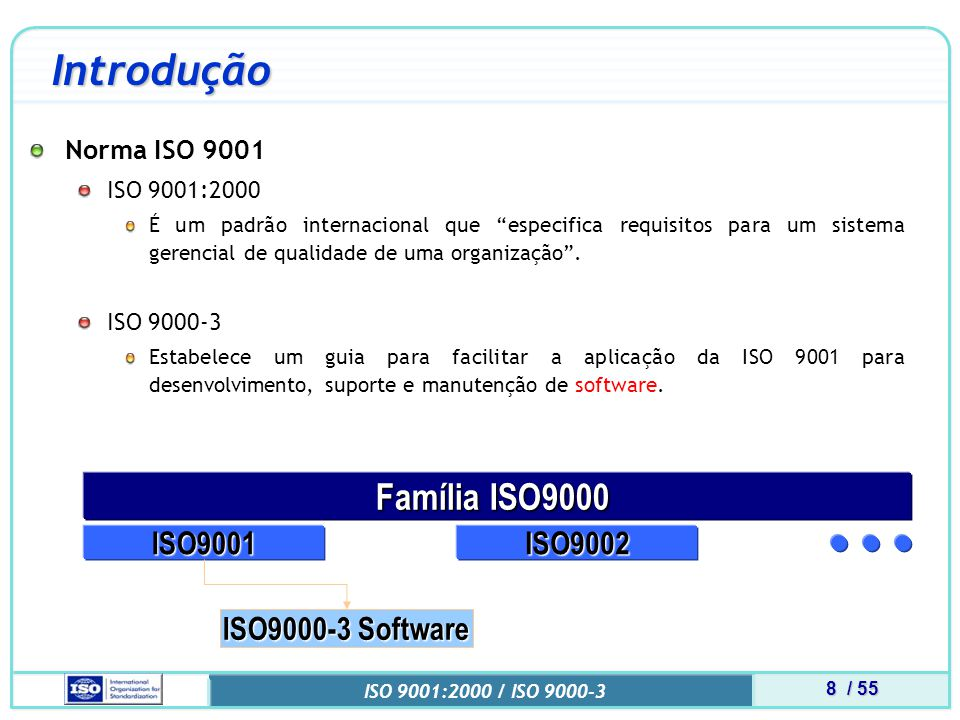 9 / 55 ISO 9001:2000 / ISO 9000-3 Certificação ISO 9001 ISO 9000-3 A aplicação da ISO 9000-3 independe de tecnologia, modelos de ciclo de vida, processos de desenvolvimento, seqüência de atividades ou estrutura organizacional.