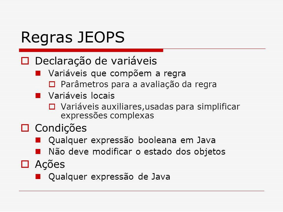 Regras JEOPS  Declaração de variáveis Variáveis que compõem a regra  Parâmetros para a avaliação da regra Variáveis locais  Variáveis auxiliares,us