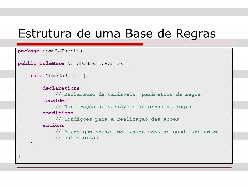 Estrutura de uma Base de Regras package nomeDoPacote; public ruleBase NomeDaBaseDeRegras { rule NomeDaRegra { declarations // Declaração de variáveis,