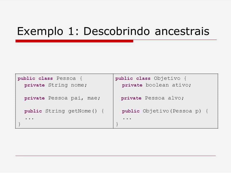 Exemplo 1: Descobrindo ancestrais public class Pessoa { private String nome; private Pessoa pai, mae; public String getNome() {... } public class Obje