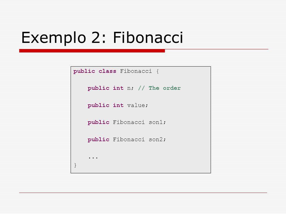 Exemplo 2: Fibonacci public class Fibonacci { public int n; // The order public int value; public Fibonacci son1; public Fibonacci son2;... }