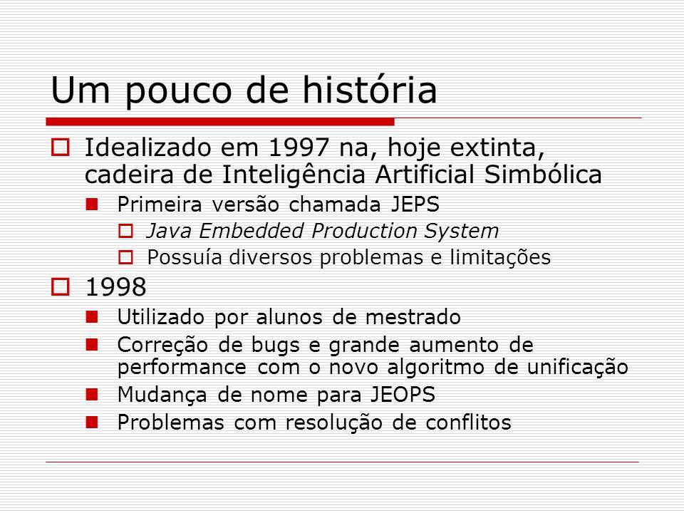 Um pouco de história  Idealizado em 1997 na, hoje extinta, cadeira de Inteligência Artificial Simbólica Primeira versão chamada JEPS  Java Embedded