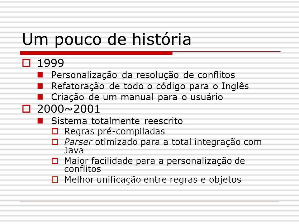 Um pouco de história  1999 Personalização da resolução de conflitos Refatoração de todo o código para o Inglês Criação de um manual para o usuário 