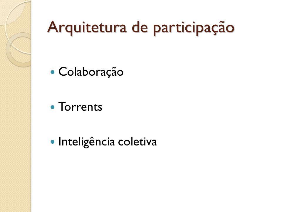 Arquitetura de participação Colaboração Torrents Inteligência coletiva
