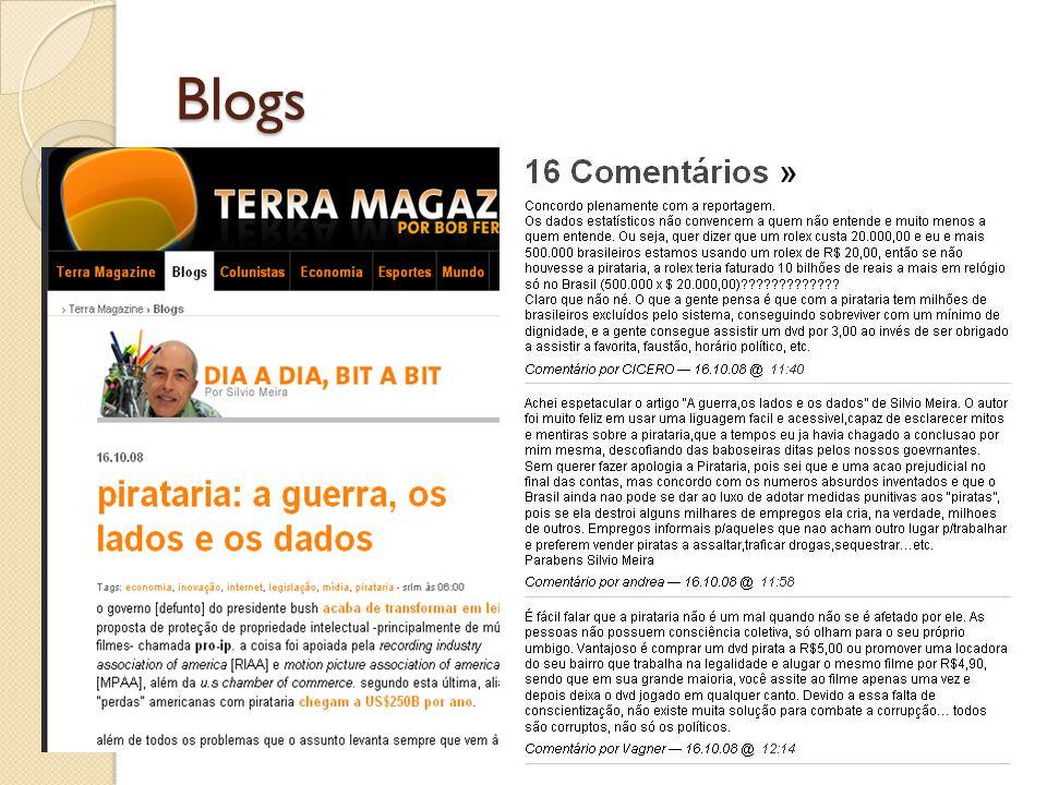 Web 1.0 X Web 2.0 Web 1.0Web 2.0 Usuário é o consumidor da informação Usuário é o consumidor e produtor da informação.