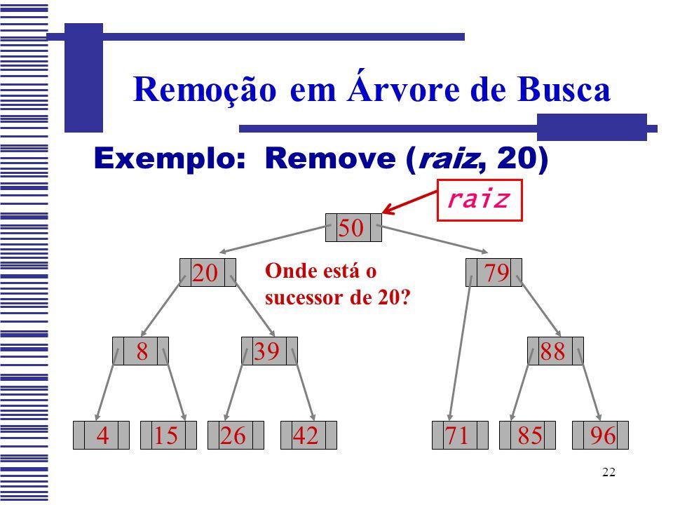 22 Exemplo: Remove (raiz, 20) Remoção em Árvore de Busca 50 20 8 415 39 2642 79 71 88 8596 raiz Onde está o sucessor de 20?