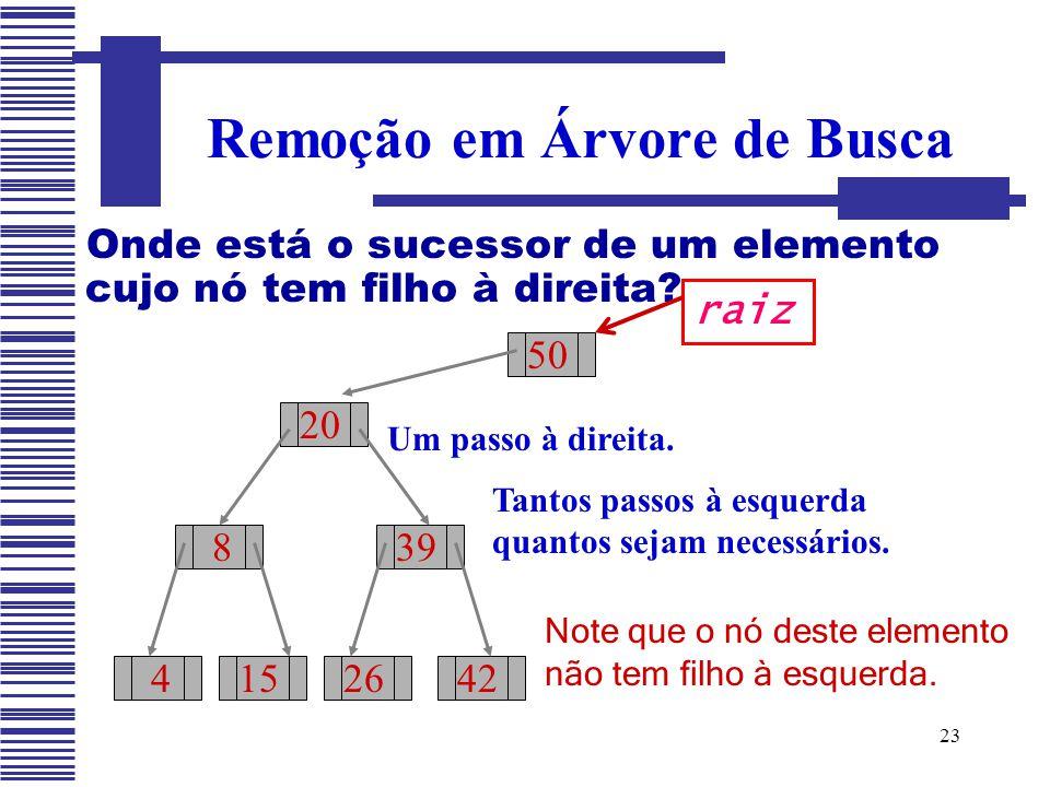 23 Onde está o sucessor de um elemento cujo nó tem filho à direita? Remoção em Árvore de Busca 50 20 8 415 39 2642 raiz Um passo à direita. Tantos pas