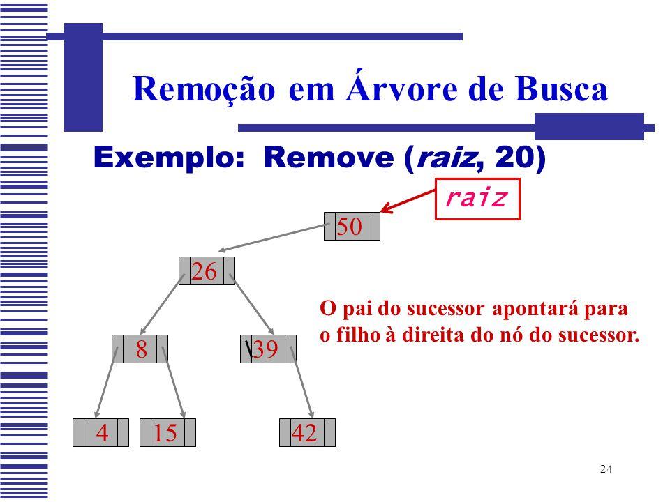 24 Exemplo: Remove (raiz, 20) Remoção em Árvore de Busca 50 26 8 415 39 42 raiz O pai do sucessor apontará para o filho à direita do nó do sucessor.