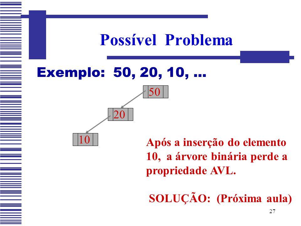 27 Exemplo: 50, 20, 10,... Possível Problema 50 20 Após a inserção do elemento 10, a árvore binária perde a propriedade AVL. SOLUÇÃO: (Próxima aula) 1