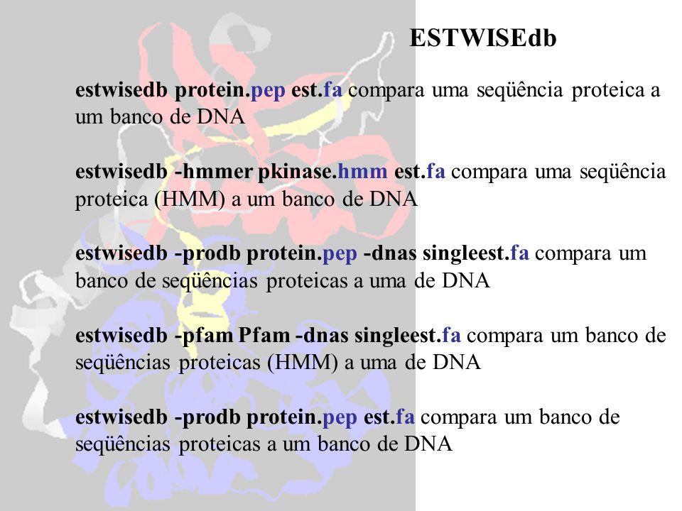 estwisedb protein.pep est.fa compara uma seqüência proteica a um banco de DNA estwisedb -hmmer pkinase.hmm est.fa compara uma seqüência proteica (HMM)