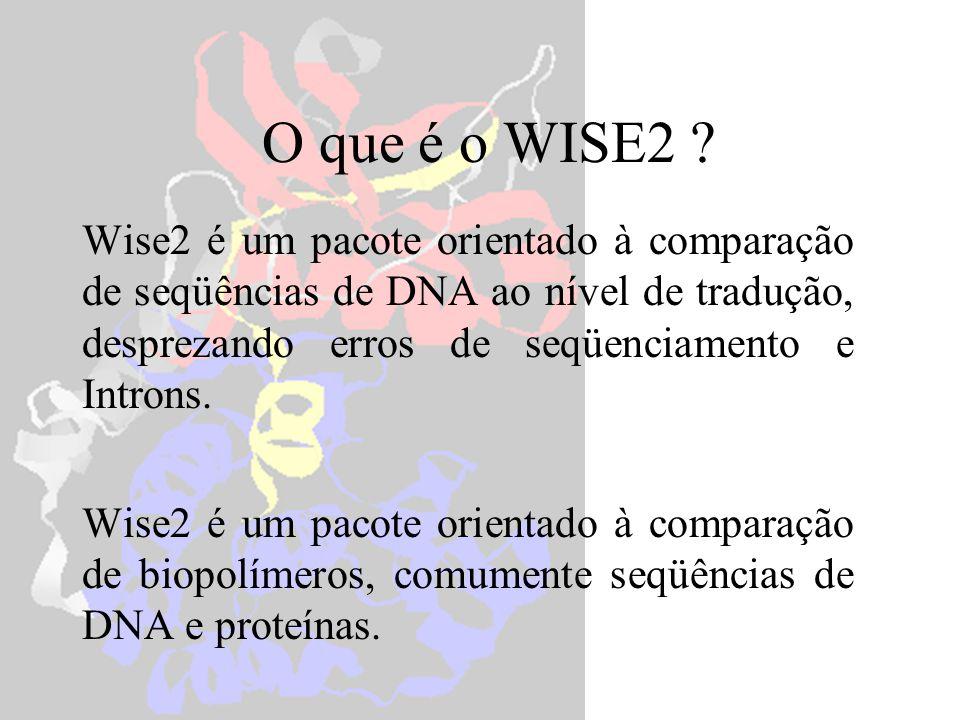 estwisedb protein.pep est.fa compara uma seqüência proteica a um banco de DNA estwisedb -hmmer pkinase.hmm est.fa compara uma seqüência proteica (HMM) a um banco de DNA estwisedb -prodb protein.pep -dnas singleest.fa compara um banco de seqüências proteicas a uma de DNA estwisedb -pfam Pfam -dnas singleest.fa compara um banco de seqüências proteicas (HMM) a uma de DNA estwisedb -prodb protein.pep est.fa compara um banco de seqüências proteicas a um banco de DNA ESTWISEdb