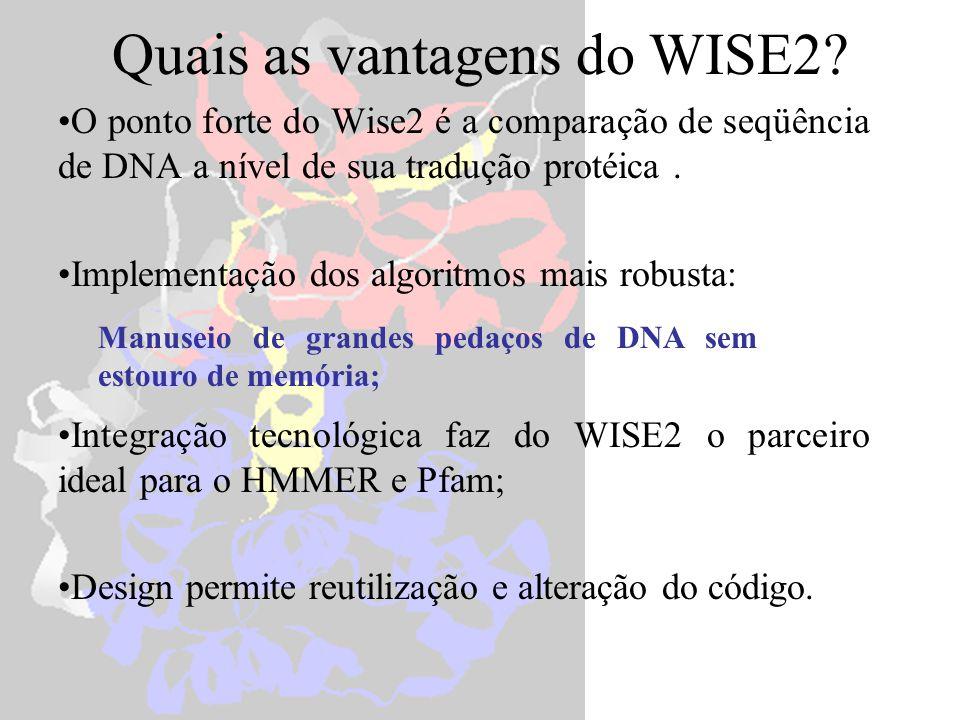 O ponto forte do Wise2 é a comparação de seqüência de DNA a nível de sua tradução protéica. Implementação dos algoritmos mais robusta: Integração tecn