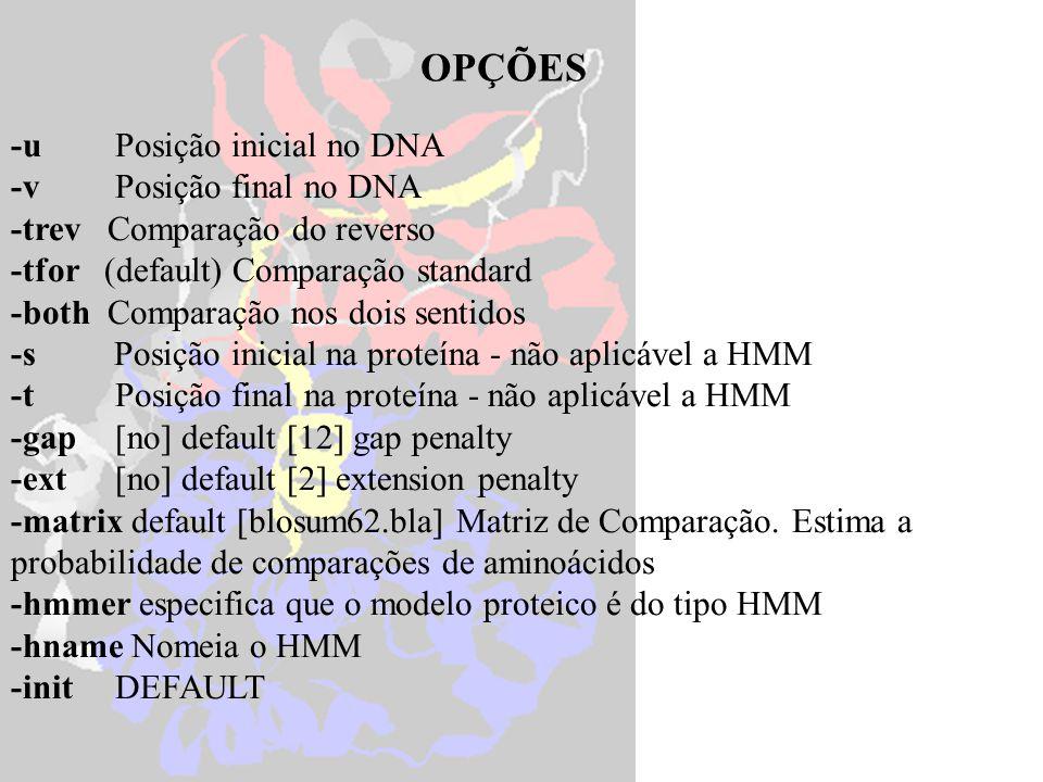 genewise protein.pep cosmid.dna compara uma seqüência proteica a uma de DNA genewise -hmmer pkinase.hmm cosmid.dna compara uma seqüência proteica ( HMM) a uma de DNA.