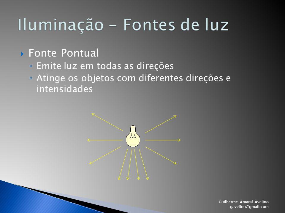 Fonte Pontual ◦ Emite luz em todas as direções ◦ Atinge os objetos com diferentes direções e intensidades Guilherme Amaral Avelino gavelino@gmail.co