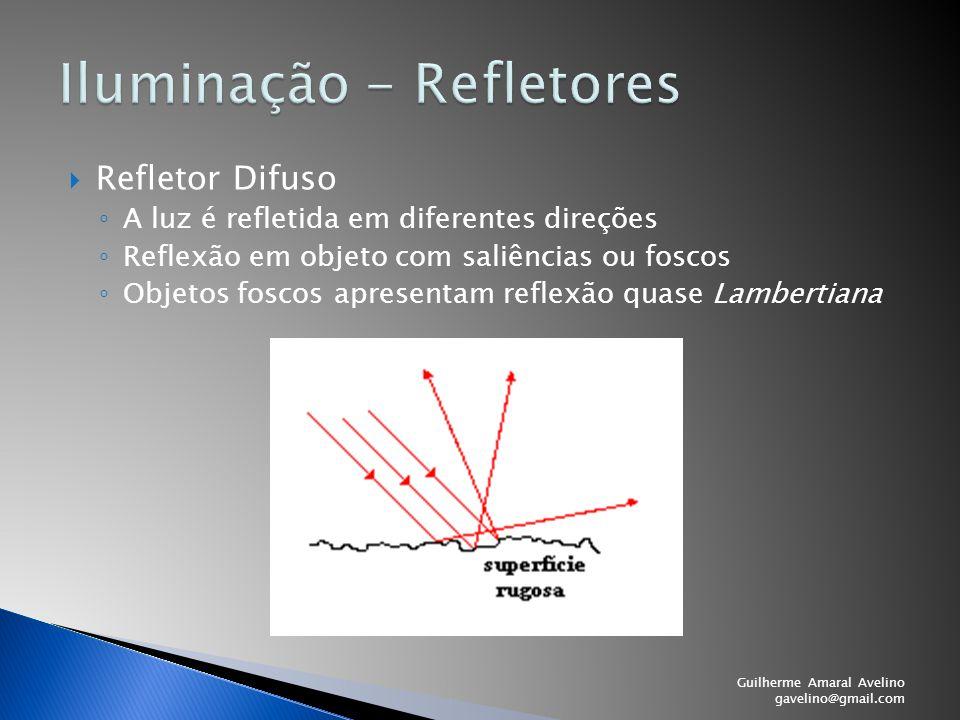  Refletor Difuso ◦ A luz é refletida em diferentes direções ◦ Reflexão em objeto com saliências ou foscos ◦ Objetos foscos apresentam reflexão quase