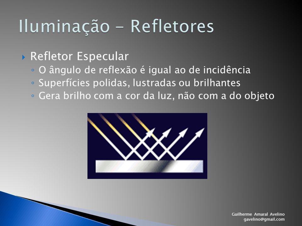  Refletor Especular ◦ O ângulo de reflexão é igual ao de incidência ◦ Superfícies polidas, lustradas ou brilhantes ◦ Gera brilho com a cor da luz, nã