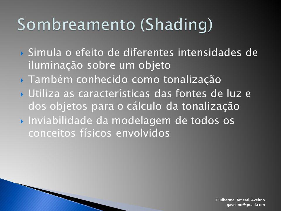  Simula o efeito de diferentes intensidades de iluminação sobre um objeto  Também conhecido como tonalização  Utiliza as características das fontes