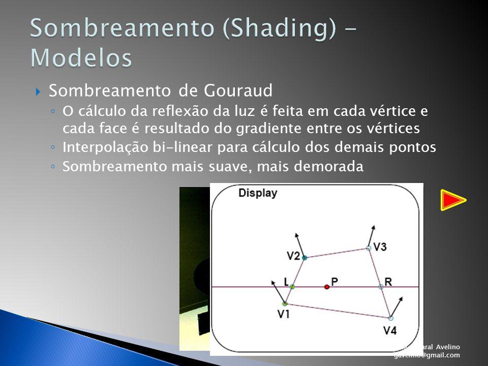  Sombreamento de Gouraud ◦ O cálculo da reflexão da luz é feita em cada vértice e cada face é resultado do gradiente entre os vértices ◦ Interpolação