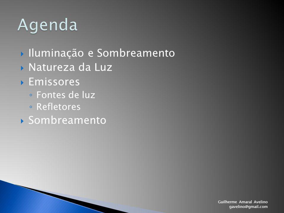  Iluminação e Sombreamento  Natureza da Luz  Emissores ◦ Fontes de luz ◦ Refletores  Sombreamento Guilherme Amaral Avelino gavelino@gmail.com