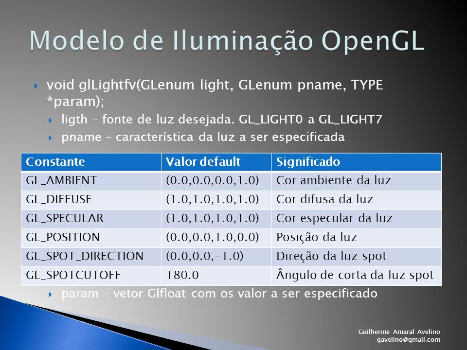  void glLightfv(GLenum light, GLenum pname, TYPE *param);  ligth – fonte de luz desejada. GL_LIGHT0 a GL_LIGHT7  pname – característica da luz a se