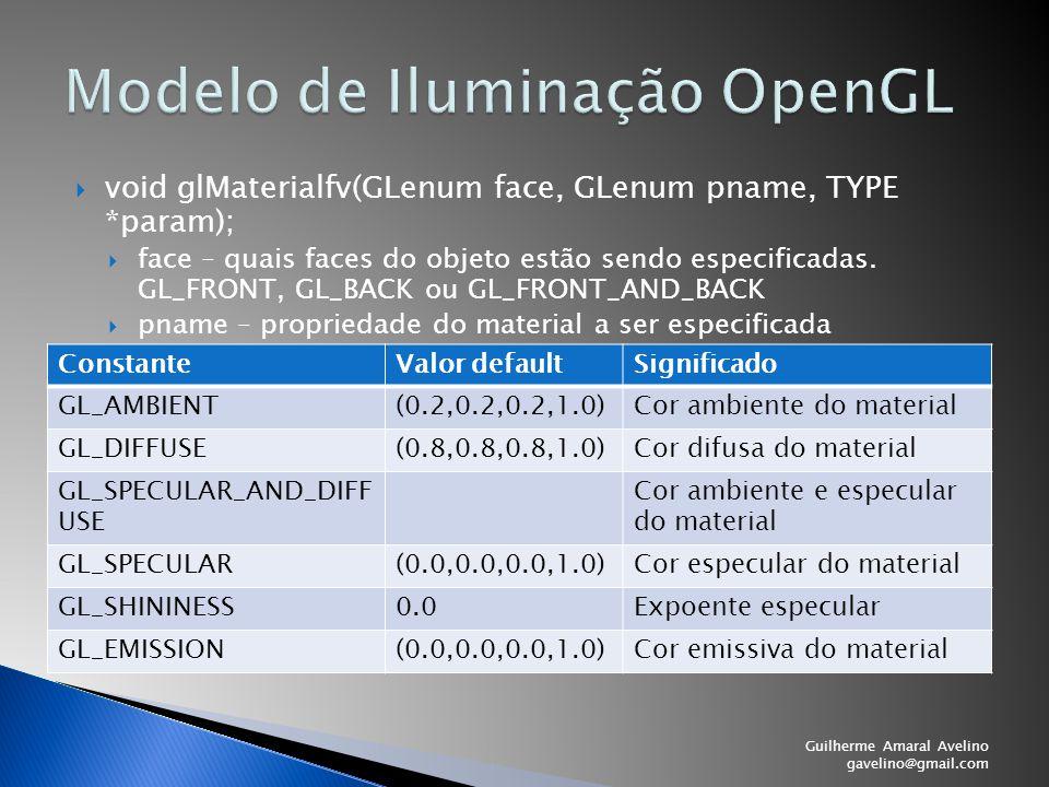 Guilherme Amaral Avelino gavelino@gmail.com  void glMaterialfv(GLenum face, GLenum pname, TYPE *param);  face – quais faces do objeto estão sendo es