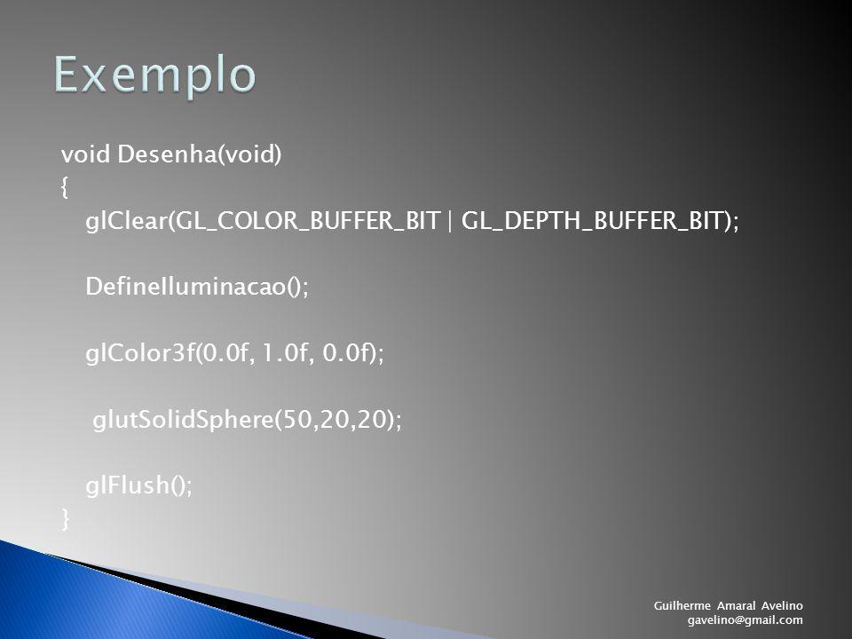 void Desenha(void) { glClear(GL_COLOR_BUFFER_BIT | GL_DEPTH_BUFFER_BIT); DefineIluminacao(); glColor3f(0.0f, 1.0f, 0.0f); glutSolidSphere(50,20,20); g