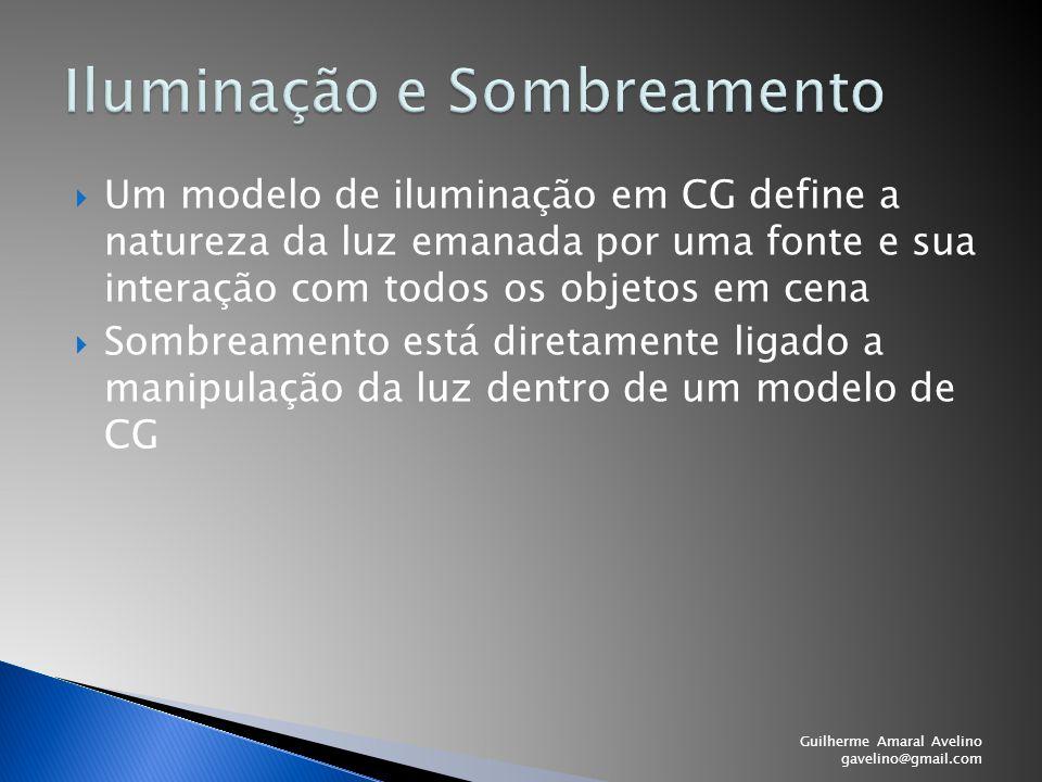  Um modelo de iluminação em CG define a natureza da luz emanada por uma fonte e sua interação com todos os objetos em cena  Sombreamento está direta