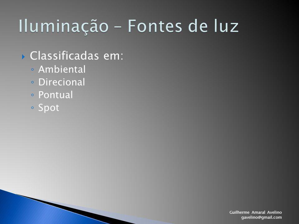  Classificadas em: ◦ Ambiental ◦ Direcional ◦ Pontual ◦ Spot Guilherme Amaral Avelino gavelino@gmail.com