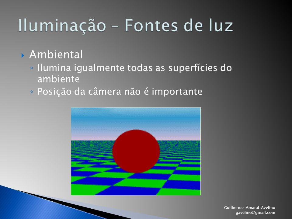  Ambiental ◦ Ilumina igualmente todas as superfícies do ambiente ◦ Posição da câmera não é importante Guilherme Amaral Avelino gavelino@gmail.com