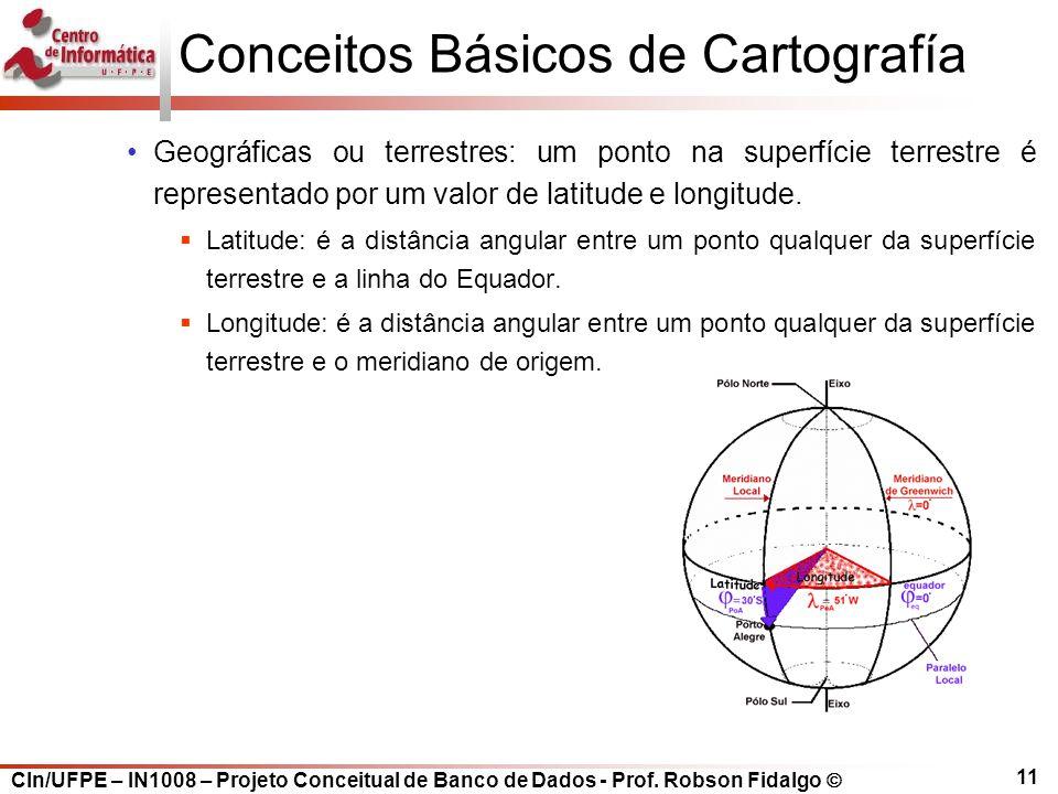 CIn/UFPE – IN1008 – Projeto Conceitual de Banco de Dados - Prof. Robson Fidalgo  11 Conceitos Básicos de Cartografía Geográficas ou terrestres: um po